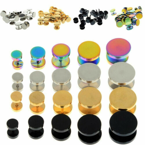 1 Pair Surgical Steel Fake Cheater Earring Stud Ear Plug Flesh Tunnel Piercing
