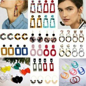 Fashion-Boho-Geometric-Acrylic-Statement-Ear-Earrings-Hoop-Resin-Dangle-Women