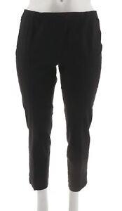 Isaac-Mizrahi-Classic-Comfort-24-7-Denim-Ankle-Pants-Cuff-Black-12-NEW-A275476