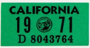 3M Material 1968 California Registration Year Sticker High Quality State Seal