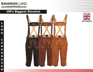 Mens-Bavarian-LEDERHOSEN-Real-Suede-Leather-with-Matching-Suspenders-Shorts