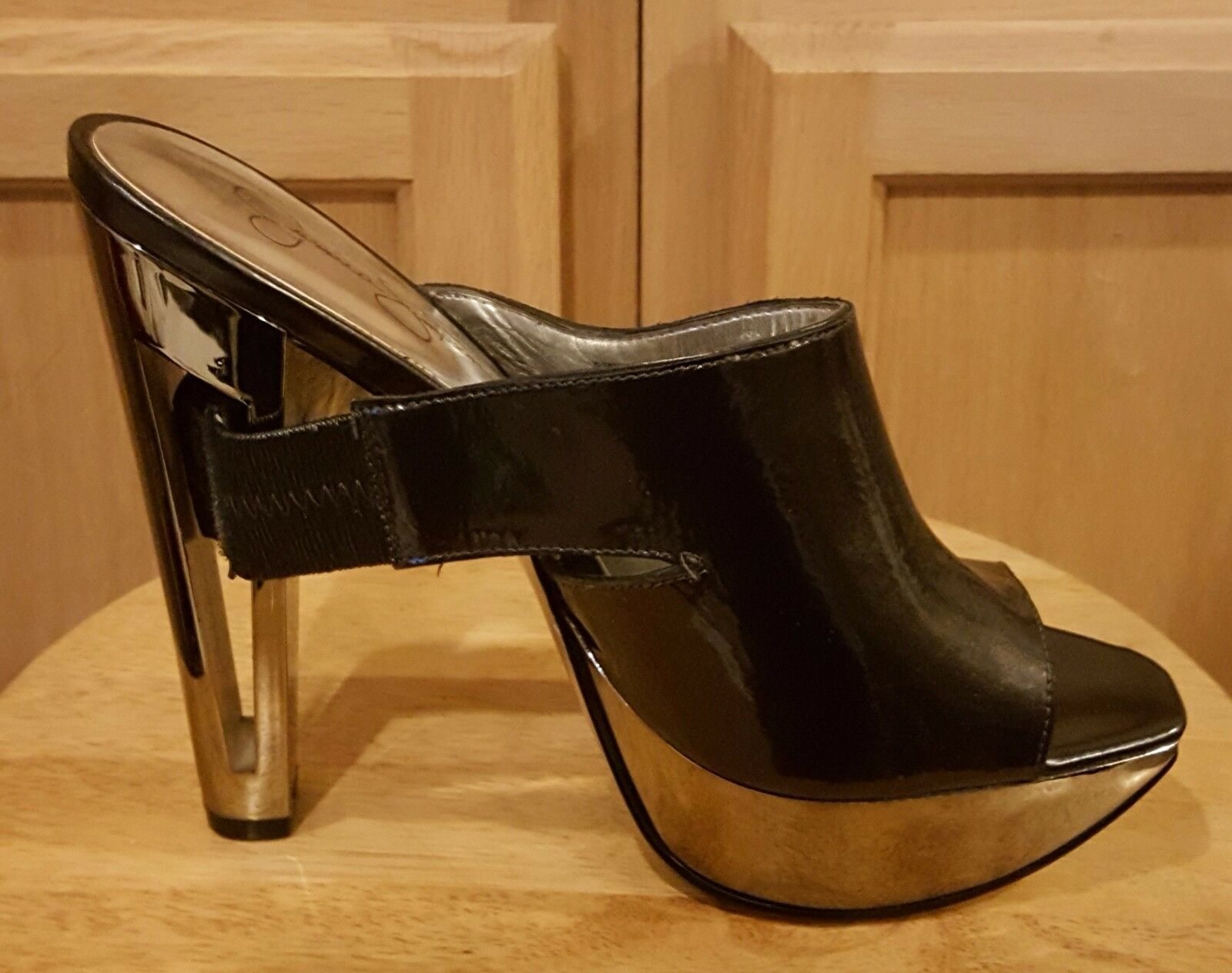 Jessica Simpson Grace Silber Mirror Platform Open-toes Leather Upper Heels  119