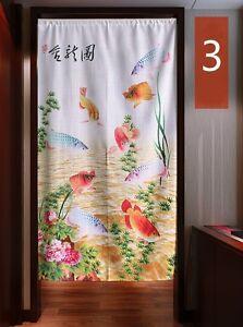 Japonais-Noren-Porte-Rideau-Tapisserie-Chinois-Encre-Lotus-Poisson-Piece
