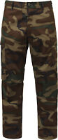 Woodland Camouflage Relaxed Fit Zipper Fly Military Cargo BDU Fatigue Pants