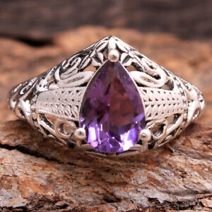 Faceted-Amethyst-Gemstone-925-Sterling-silver-Prong-Setting-Ring-Size-us-8-75