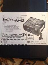 M4-2 Ephemera 1957 Advert Elizabethan 56 Portable Tape Recorder