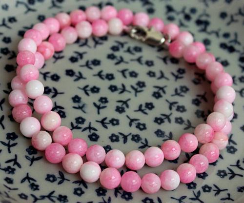 "Beautiful 6MM Natural Pink Jade Chalcedony Round Gemstone Necklace 18/""AAAAA"