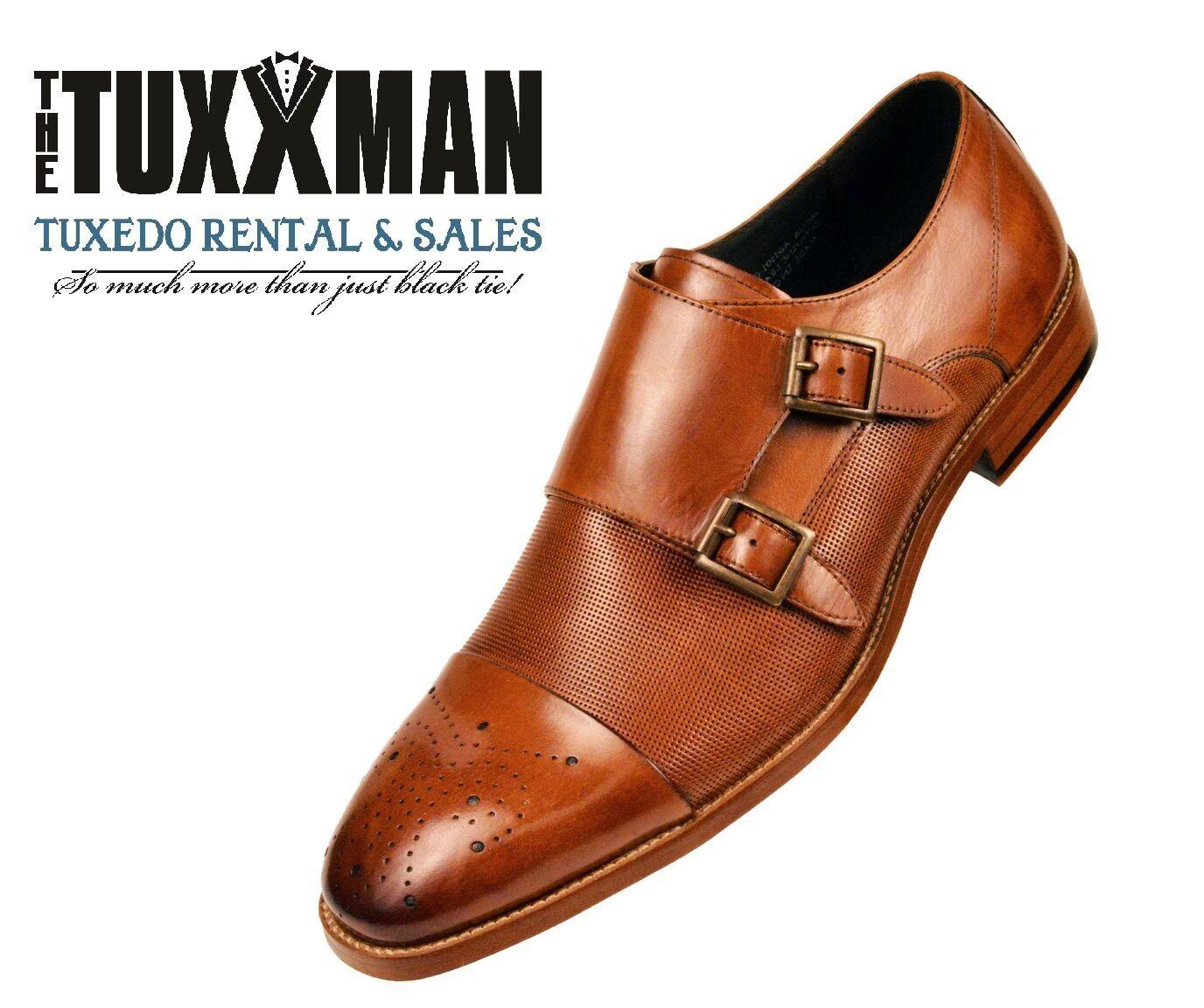 punto vendita New Uomo Cognac Tan Tan Tan Genuine Leather Cap Toe Double Monkstrap Dress scarpe TUXXMAN  marchi di stilisti economici