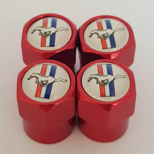 Mustang Rojo Coche Válvula Casquillos de polvo de Rueda de Plástico Todos Los Modelos
