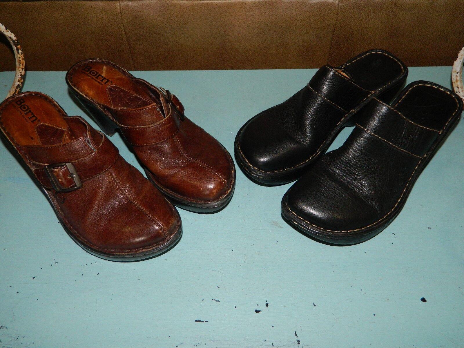 Nacido Para Mujer Zuecos Mulas Slip Ons Ons Ons Marrón Negro de cuero zapatos talla 6 Lote de 2  mejor vendido