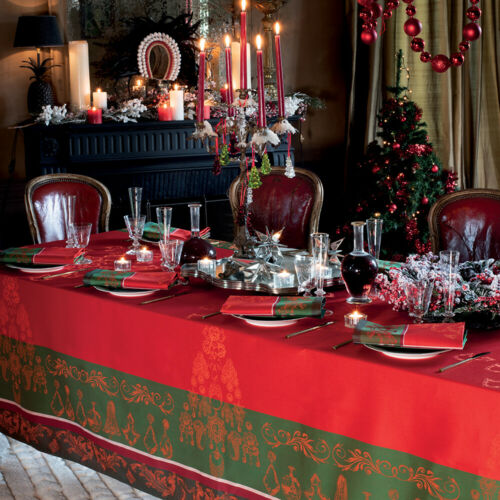 SET OF 4 NOEL BAROQUE FRENCH JACQUARD CHRISTMAS CLOTH NAPKINS GARNIER THIEBAUT