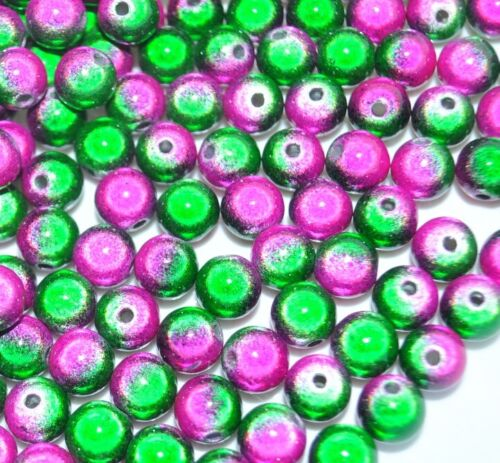 8mm 3D illusion miracle double-coloured round acrylic beads 40pcs//bag