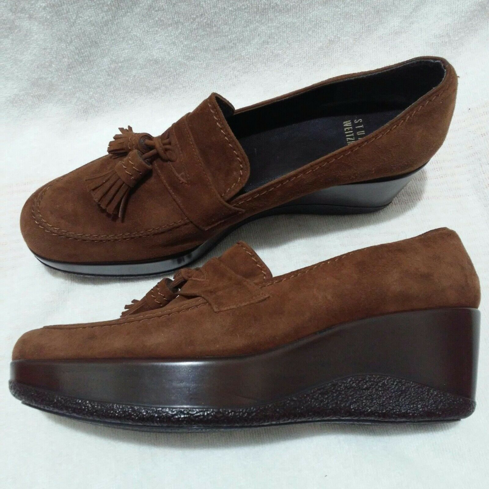 STUART WEITZMAN Wedge Suede Leather Platform Wedge WEITZMAN Heels Slip-on Loafers $425 Brown 8M b4fc13