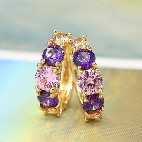 WOMEN'S ELEGANT 9K GOLD PLATED JEWELRY PURPLE ZIRCON CRYSTAL HUGGIE EARRINGS LA1