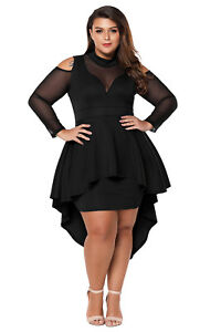 be4dd1e0111 Plus size mesh trim hi-lo peplum bodycon dress high low long sleeve ...