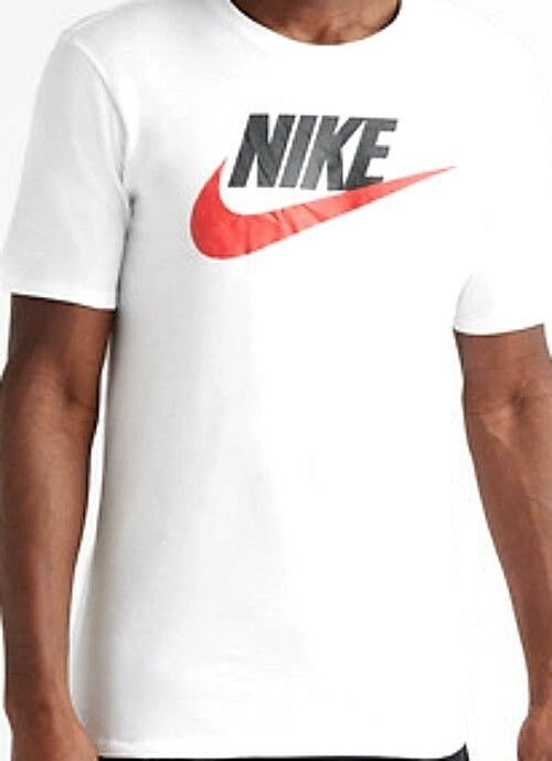 AUTHENTIC NIKE 100% COTTON CHEST NIKE SWOOSH WHITE T SHIRT 696707-101