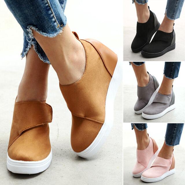 huge discount wholesale get online US/Women Ladies Slip-On Wedge Heel Sneakers Sport Casual Platform Shoes  Loafer