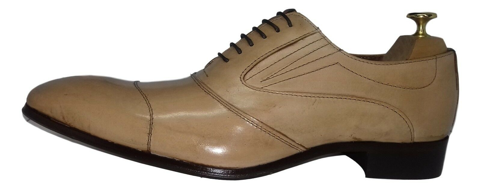 CHAUSSURE ITALIENNE LUXE HOMME NEUF CUIR BEIGE