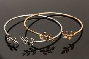 Women-Cuff-Open-Bangle-Gold-Silver-Plated-1Ps-Leaves-Adjustable-Bracelet-Fashion