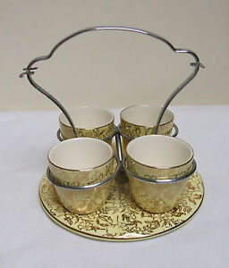 MAYELL-ENGLAND-LEMON-GILT-CHINTZ-4-EGG-CUP-SET-CHROME-HANDLE-5-piece-VINTAGE