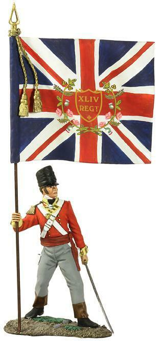 BRITAINS NAPOLEONIC BRITISH 36111 44TH REGIMENT ENSIGN WITH KINGS COLOURS MIB
