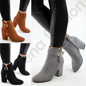 f08ce2dd57c New Womens Ladies Ankle Boots High Block Heel Buckle Side Zip Casual ...