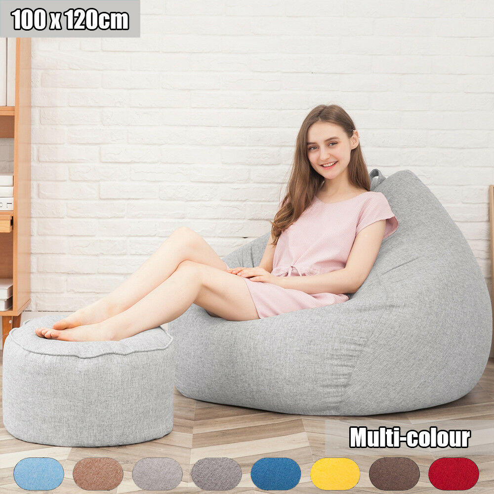 Große Bean-Bag-Stühle für Erwachsene Couch Sofa Cover Indoor Lounge mit Fußstütze