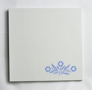"""VINTAGE CORNING CORNFLOWER BLUE TRIVET TILE HOT PAD 6""""x6"""" Excellent"""