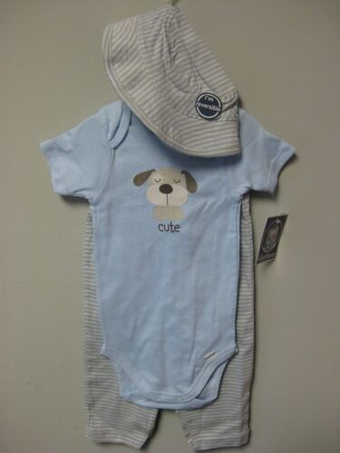 Hat /& Pants Size 18M or 24M Gerber Baby Boy 3-Piece Cute Dog Light Blue Onesie