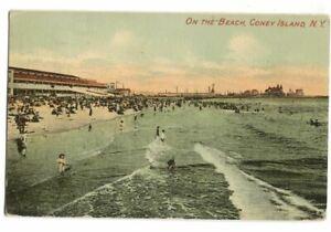 Postcard-On-the-Beach-Coney-Island-NY-New-York-1912