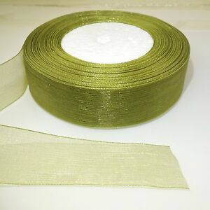 25mm Organza Ribbon Green with Gold Wired Edge 3m Roll