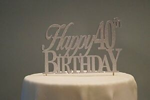 Silver Happy 40th Birthday Cake Topper New Free Shipping