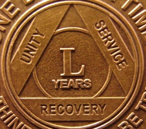 Alcoholics Anonymous AA 50 Year Bronze Medallion Token Coin Chip Sober Sobriety