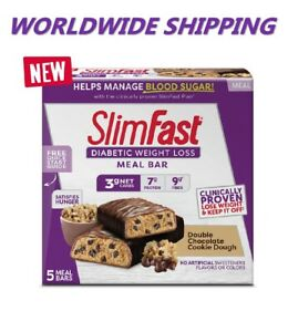 Slim-Fast-Diabetique-Poids-Perte-Repas-Barre-Double-Chocolat-Cookie-Pate-Du-Ship