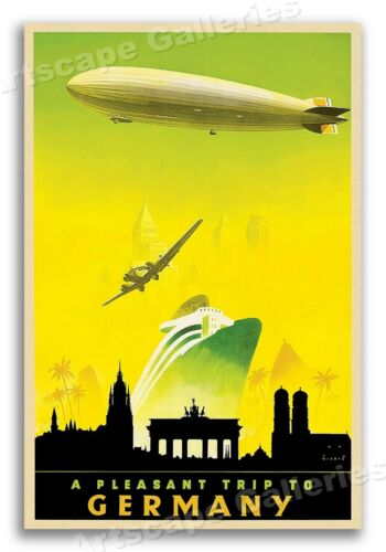 24x36 A Pleasant Trip to Germany 1930s Vintage Style Blimp Travel Poster
