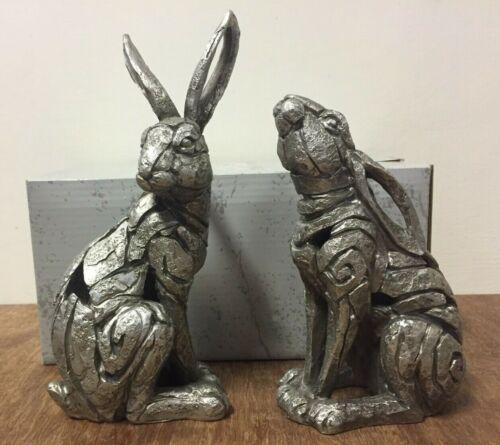 Sitting Silver Hare Statues Silver Colour Hare Ornament Figurines by Leonardo