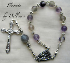 ✫FLUORITE✫  HANDCRAFTED GEMSTONE ONE DECADE  ROSARY CHAPLET