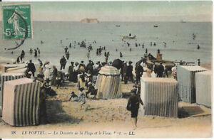 Cpa Le Portel - la descente de la plage et le vieux fort