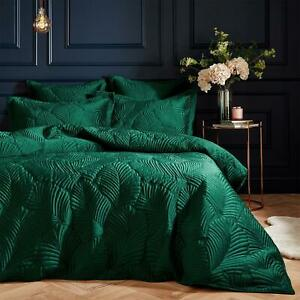 LUX EMBROIDERED ART DECO LEAVES QUILTED VELVET EMERALD GREEN DOUBLE DUVET COVER