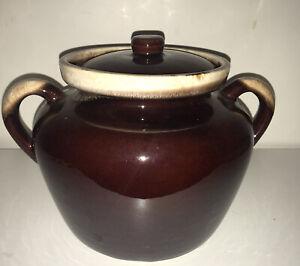 Vtg McCoy Bean Pot Cookie Jar Brown Drip Pottery 342 Ovenproof Double Handle Lid