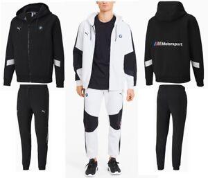 Men S Puma Bmw Motorsport Fashion Hooded Sweat Jacket Pants Tracksuits Black Ebay