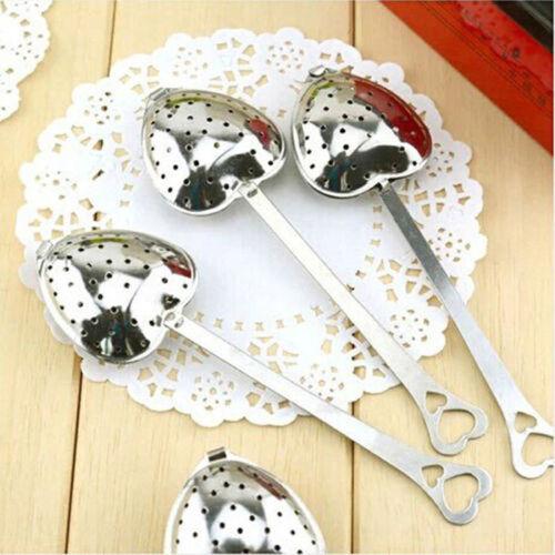 3 X Stainless Steel Heart Shape Spoon Infuser Leaf Herb Filter Strainer Steeper