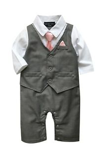 Baby-Boy-Formal-Party-Wedding-Tuxedo-Waistcoat-1pc-Outfit-Suit-0-24-Months