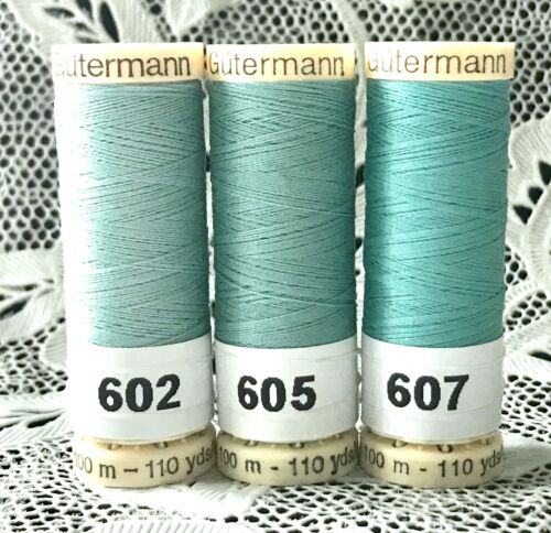 3 NEW different teal colors GUTERMANN 100/% polyester thread 110 yard spools