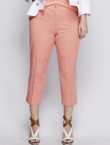 Details about  /LANE BRYANT Printed Lena Cotton Smart Stretch Crop Pants Plus 18 Coral Pink NWT