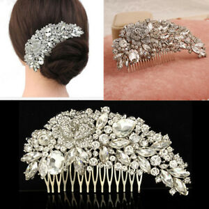 Women-Bridal-Crystal-Hair-Comb-Rhinestone-Silver-Flower-Bride-Wedding-Accessory