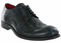 Blue Brogue Shoes Base London Leather Coniston 5 Eye Mens Formal Lined Lace Ups