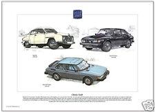 CLASSIC SAAB - Fine Art Print - 96, 99 Turbo & 900 Turbo models illustrated