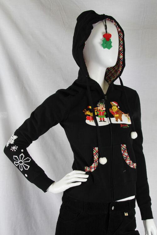 Paul Frank Julius Friends XXS CAD Black Joy to World Hoodie Holly Berries