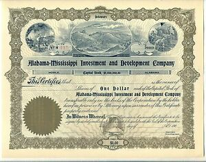Alabama-Mississippi Investment /& Development Company Stock Certificate Mining